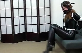 Pretty brunette tied forced latex gagged with boots bondage bdsm xxx porn