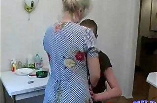 Grandson fucks his old granny in the kitchen xxx tube video