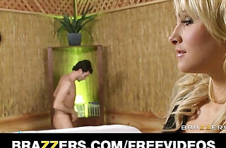 Blonde masseuse Jessica Nyx gives client a sensual suck and fuck xxx tube video
