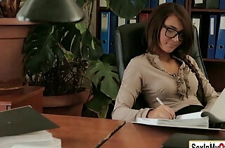 Sexy secretary Alexis Brill works up a a sweat with her boss xxx tube video