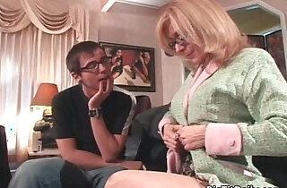 Sexy blonde amateur MILF masturbating with big tits seduced xxx tube video