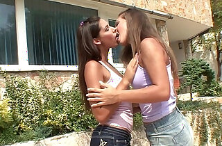 Very beautiful brunettes Zafira and Cheerie make love outdoors by Sapphic Erotic xxx tube video