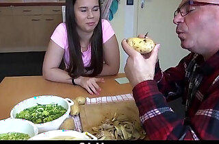Sweet fucking the old cook cum swallowing in the kitchen xxx tube video