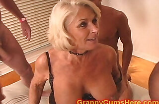 Granny gets GANG BANG and Cum Bath xxx tube video