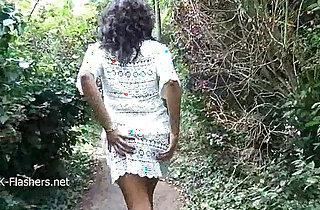 Ebony babe teasing public flashing and outdoor masturbation of black amateu xxx tube video