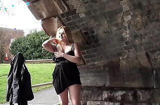 Blonde babe Sophie Keagan public flashing and upskirt masturbation xxx tube video