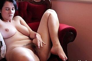 Busty Brunette Aeryn Masturbating Her Hairy Pussy xxx tube video