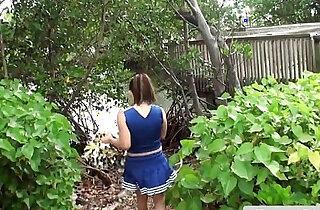 Busty cheerleader flashing boobs outdoor xxx tube video