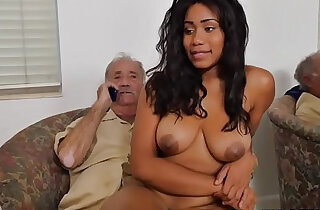 Busty black youngster cockriding grandpa xxx tube video