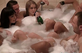 College amateurs jacuzzi fun turns into orgy xxx tube video