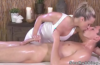 Blonde masseuse giving cock massage in oil xxx tube video