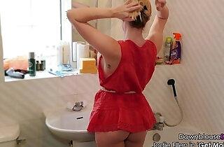 Jodie Ellen Downblouse Sexy Video Lookbook Hot Blonde amateur Babe