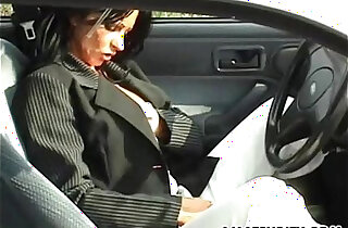 Amateur with big tits sucks and fucks in her car xxx tube video