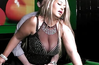 BBW in nylons takes it from behind on the pool table xxx tube video