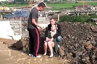 Cute chick fucked in public construction site by guys with big dicks xxx tube video