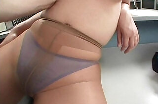 Lady in pantyhose is pleasured as man licks her tits xxx tube video