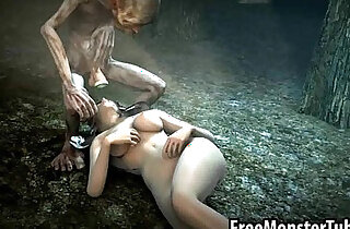 Foxy 3D babe in stockings gets fucked in the woods by Gollum xxx tube video