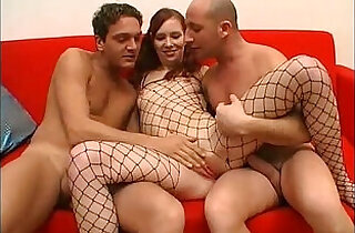 Threesome for this bitch in a fishnet xxx tube video