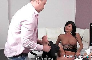 Brunette Milf sucks small dick in casting xxx tube video