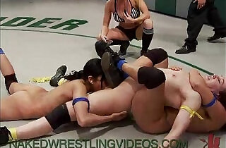 Four babes wrestle and fuck on mats xxx tube video